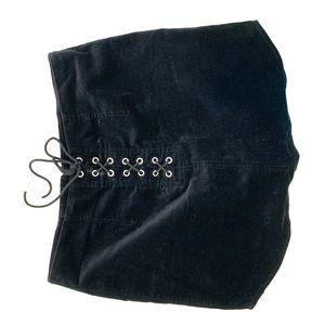 Black suede mini skirt